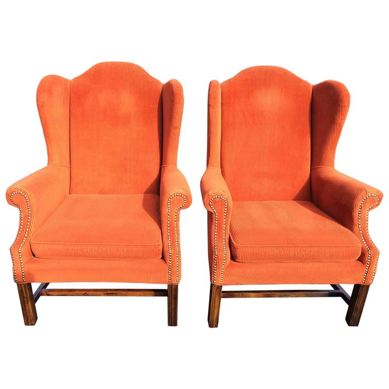 Corduroy Wing Back Chairs