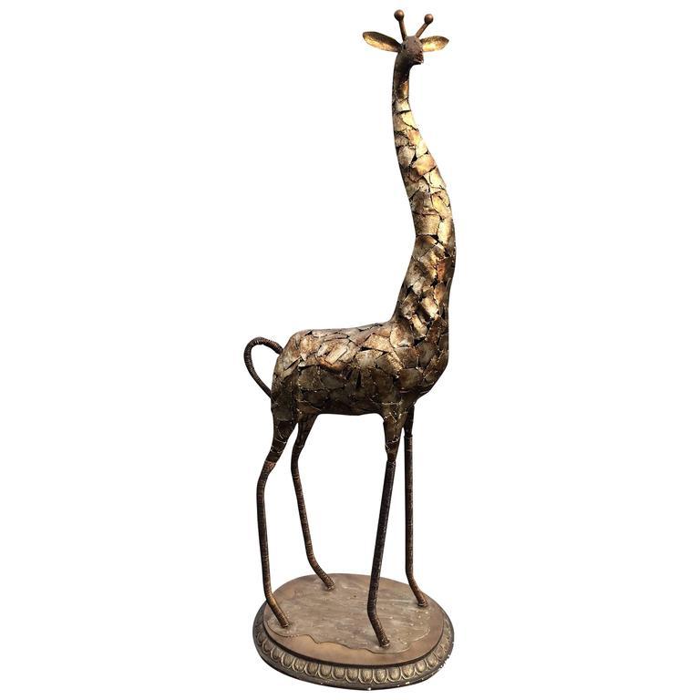 Brutalist Metal Giraffe Statue