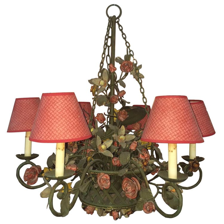 Hand Painted Tole Chandelier