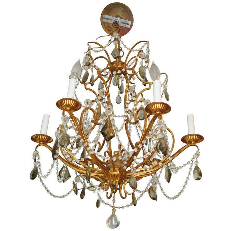 Gilded Iron Crystal Chandelier