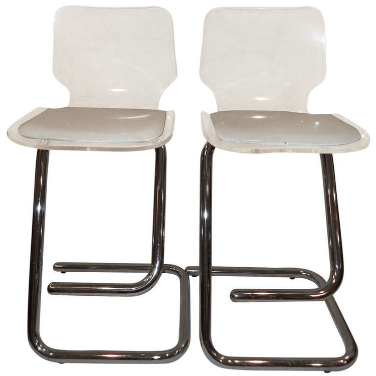 Lucite and Chrome Stools