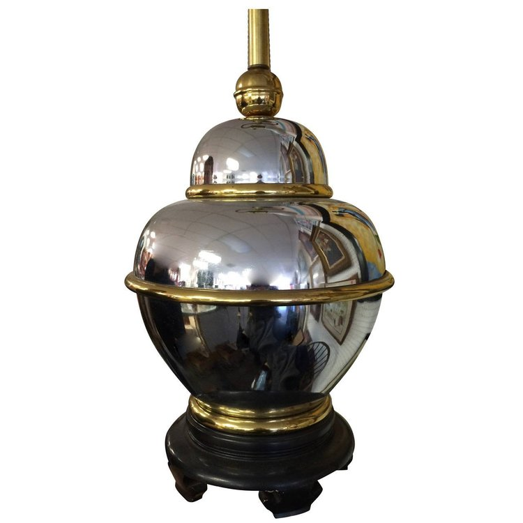 Chrome and Brass Table Lamp