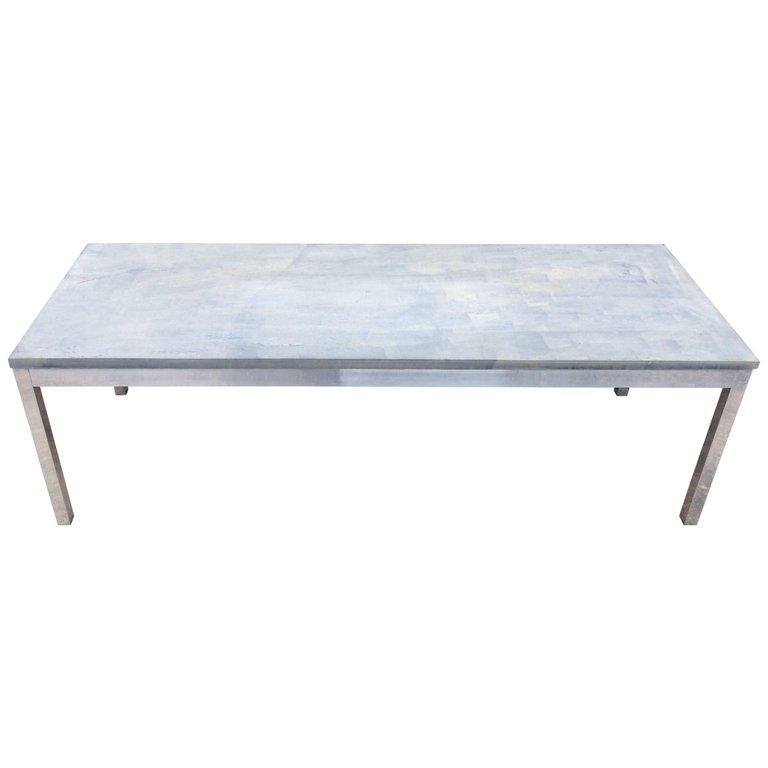 Slate Coffee Table With Aluminum Base Fleur De Lis