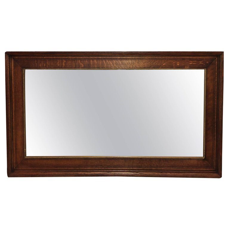 Antique Oak Beveled Mirror