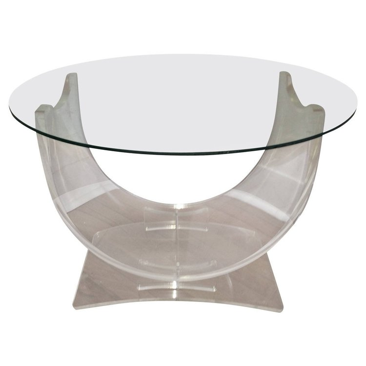 Lucite and Glass Table
