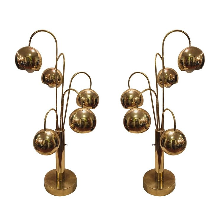 Brass Eyeballs Lamps by Sonneman