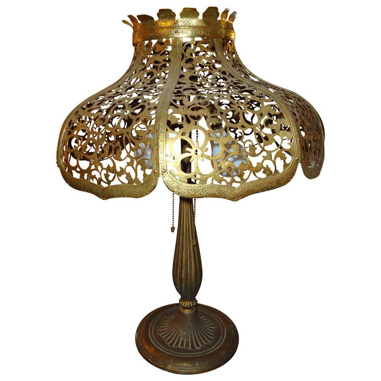 Gilt Metal Lamp by Edward Miller