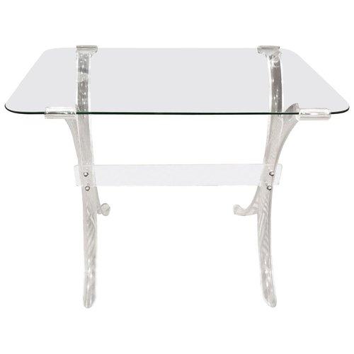 Lucite And Glass Side Table Fleur De Lis