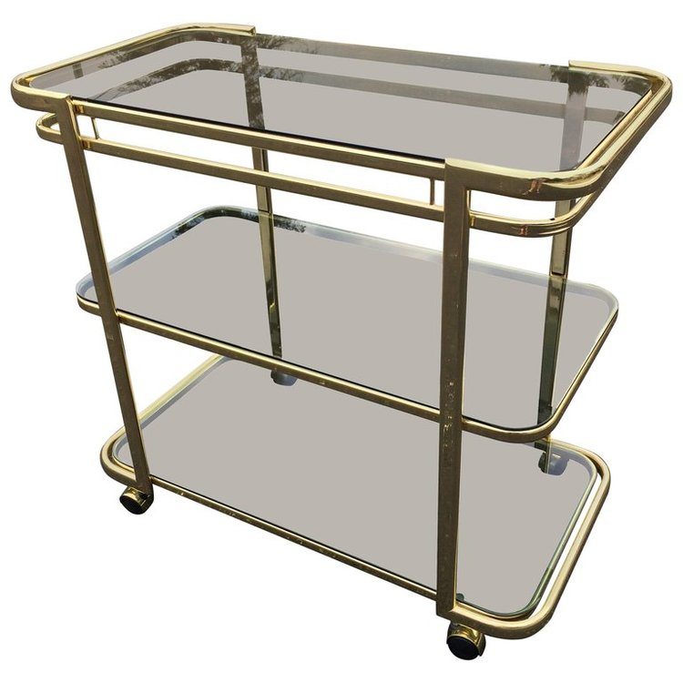 Brass and Smoked Glass Bar Cart