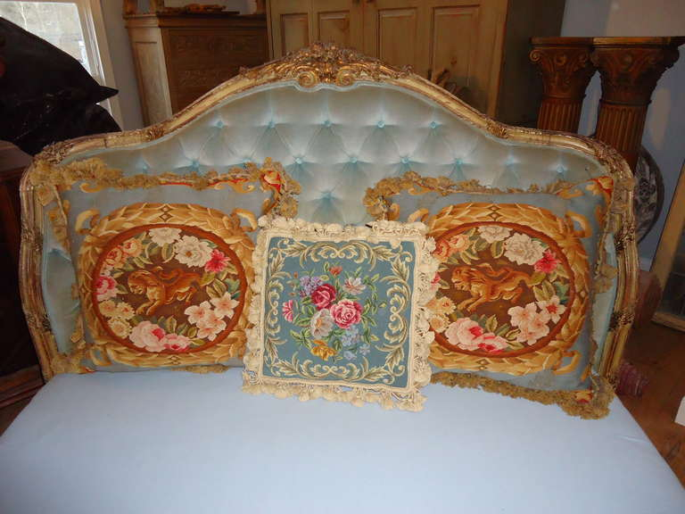 Antique Carved Wooden French Bed with Tufted Headboard.jpg1.jpg