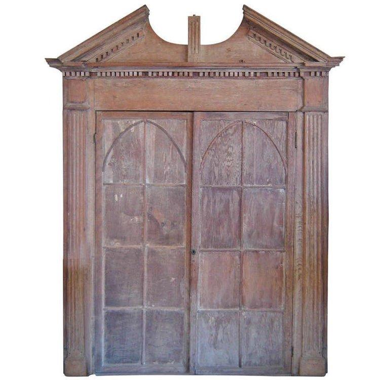 Gothic Oak Corner Cupboard