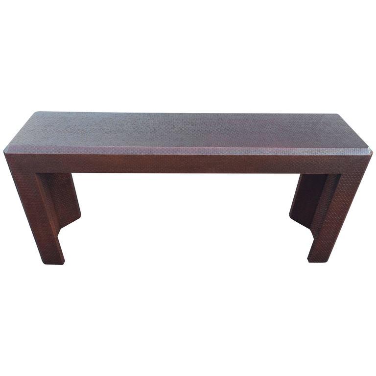 Textural Raffia Parsons Table