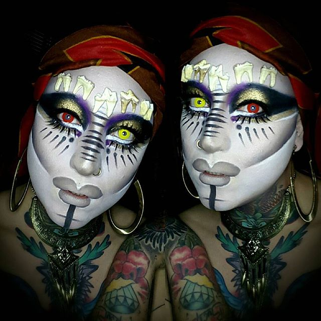 Test run for tomorrow's #voodooqueen photoshoot with @lushlightphoto. @qwerrrkout #wednesdaywestwood #voodoo #makeup #makeupart #marielaveau #darkarts #bones #drag #dragqueen #rpdr #qwerrrkout