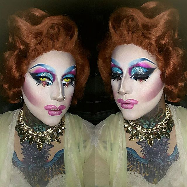 Tonight's look for... oh yea. I stayed in tonight. Wig styled by @enigma_wigs #wednesdaywestwood #enigmawigs #qwerrrkout #drag #dragqueen #makeupart #makeup #sugarpill #sugarpillcosmetics #maccosmetics #mac @qwerrrkout