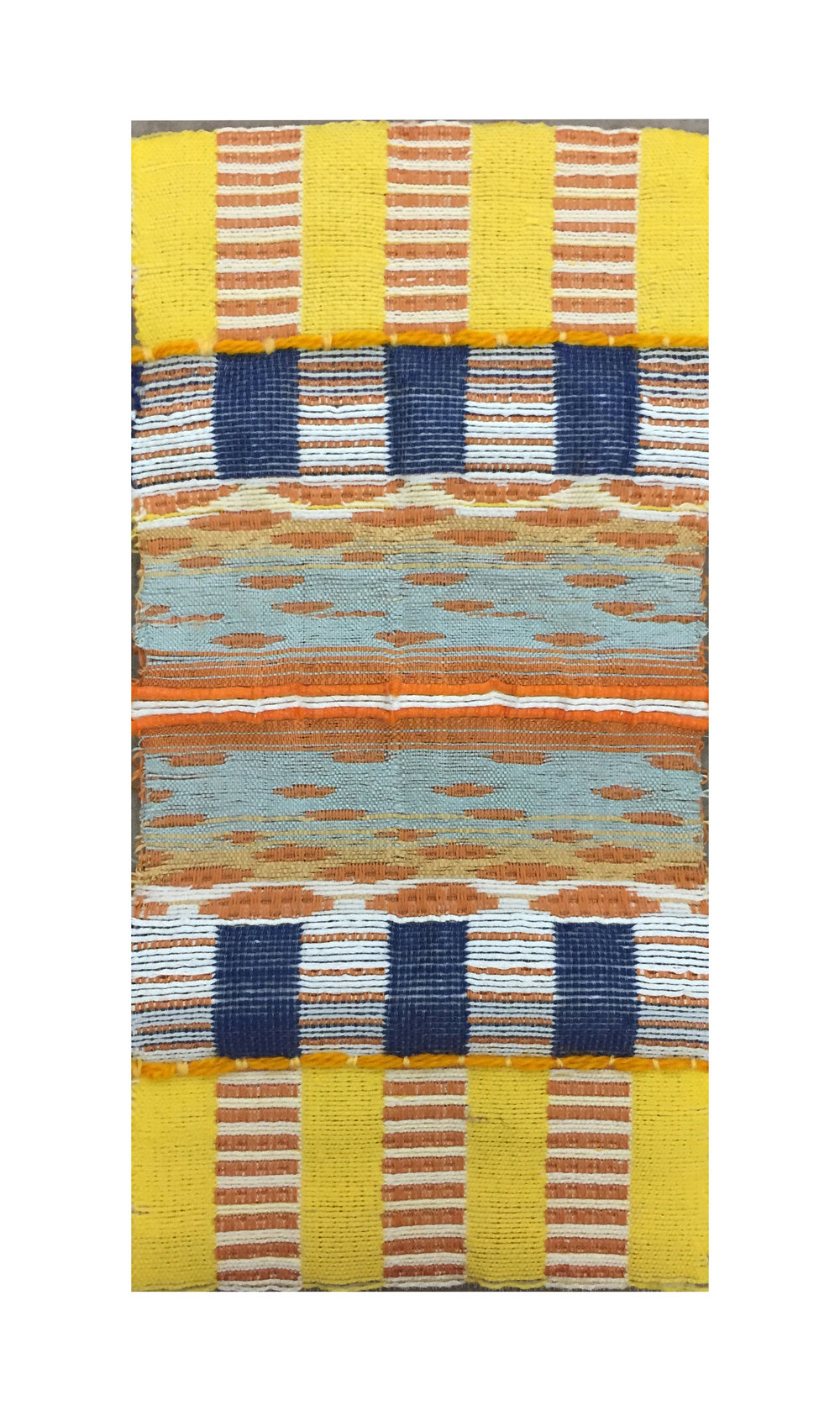 this collection of woven samples is inspired from the differences and similarities between Theravada Buddhism and Zen Buddhism  each sample was designed on Weavepoint7 and hand-woven on a 24 Harness AVL Dobby loom