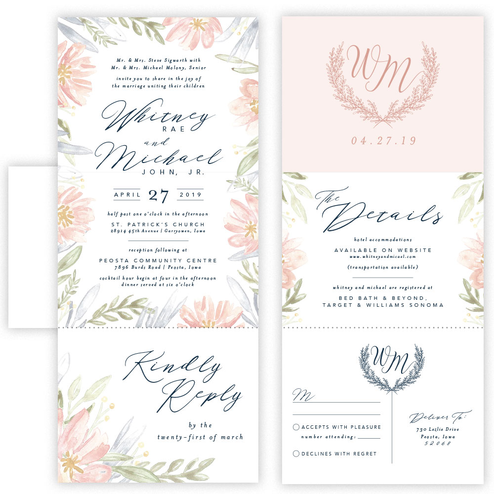 whitney tri fold invitation with envelope mabe design co