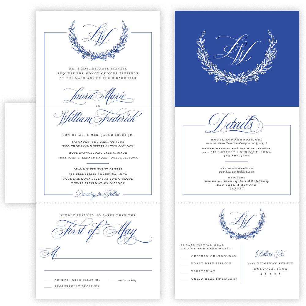 laura tri fold invitation with envelope