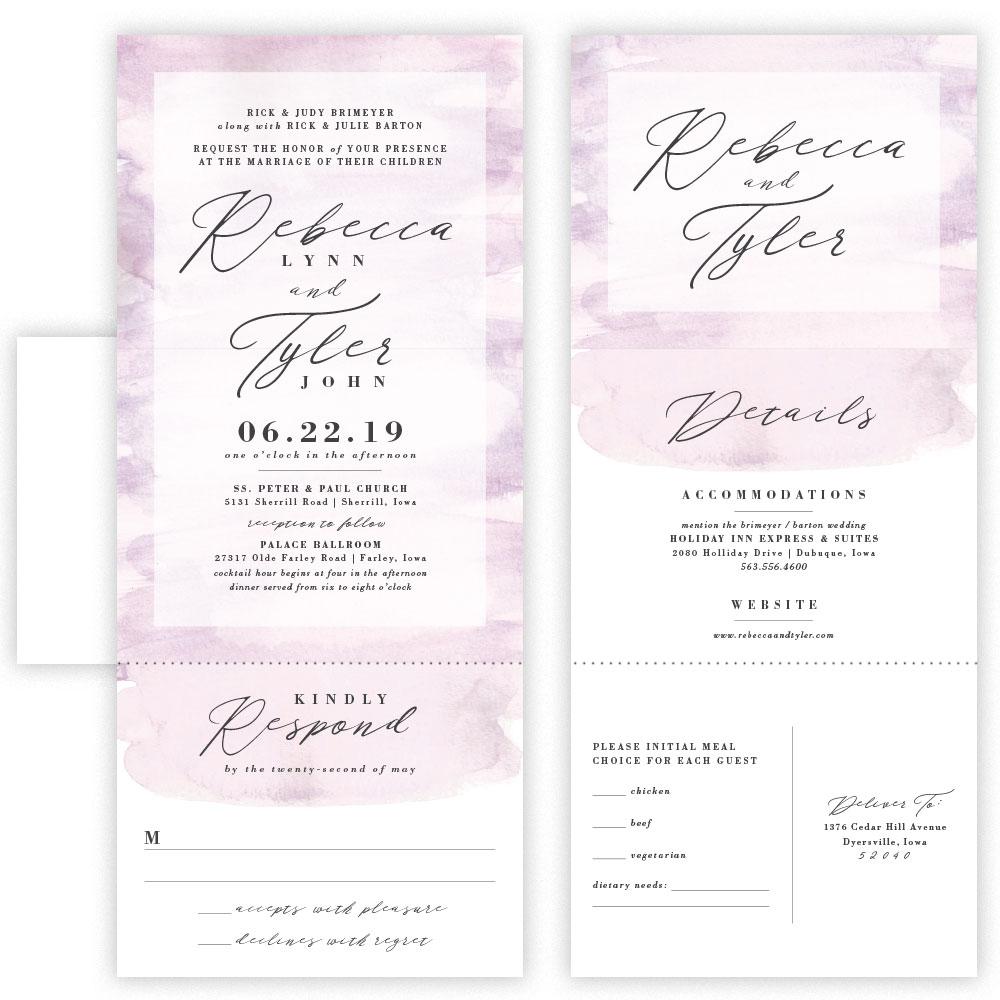 rebecca tri fold invitation with envelope
