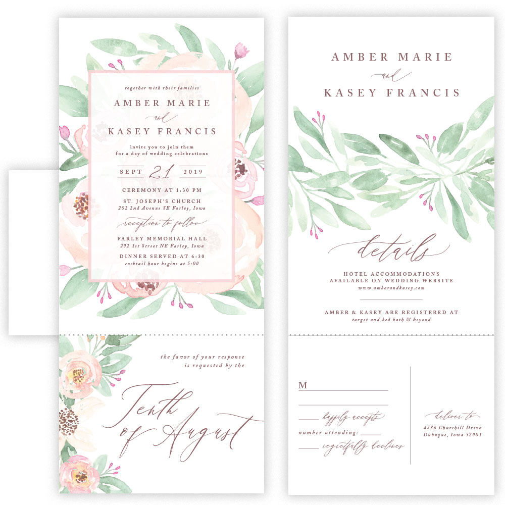 amber tri fold invitation with envelope mabe design co