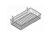 "Shallow Wire Basket (black) • 12""D x 24""L x 4""H"