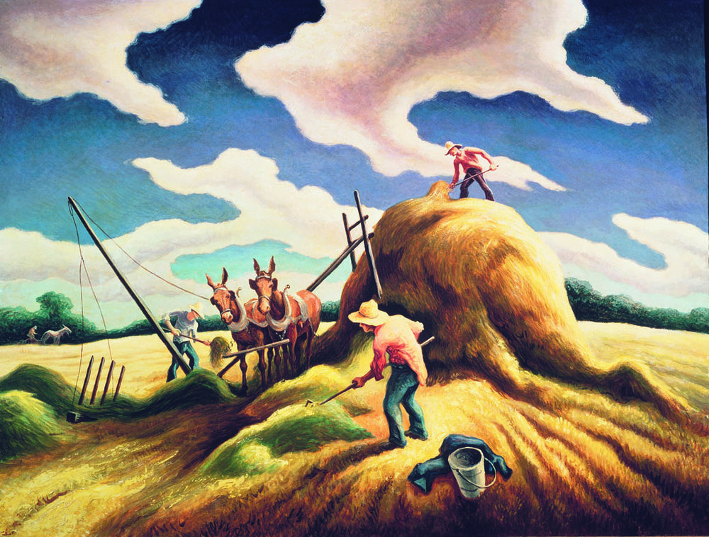 THOMAS HART BENTON  (1889-1975)  Haying  1943 Oil  on canvas mounted on panel 30 x 40 inches Private Collection, California