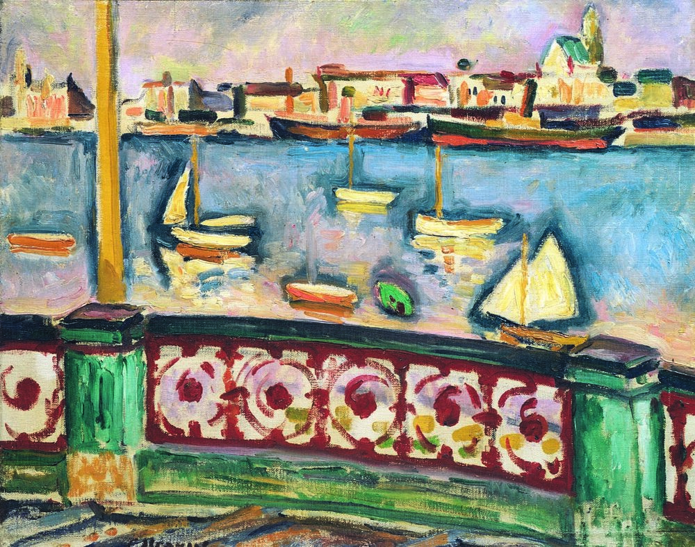 GEORGES BRAQUE  (1882-1963)  La Port d'Anvers (Antwerp)  1906 Oil on canvas 14 1/4 x 18 1/4 inches Private Collection