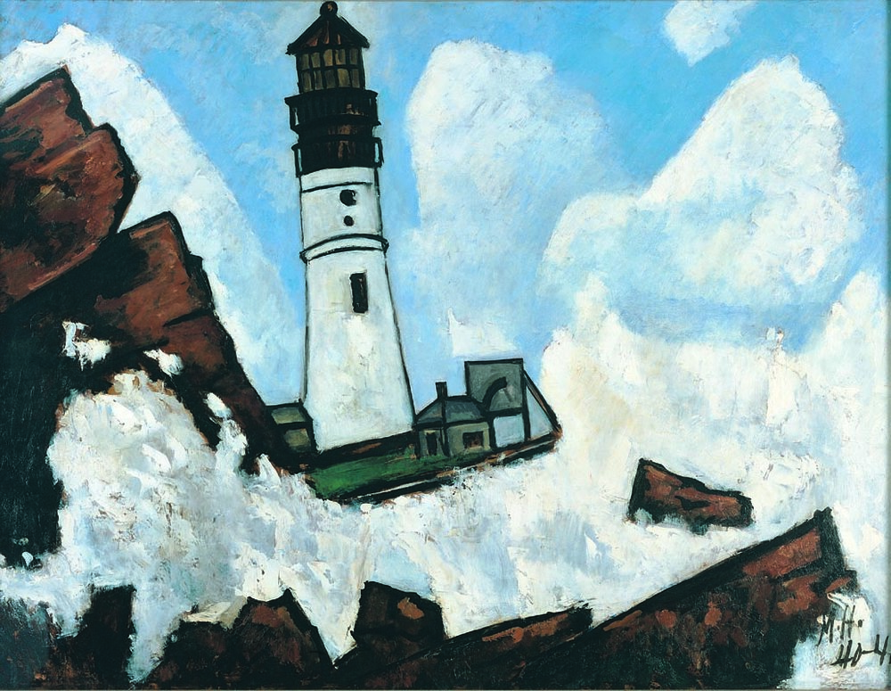 MARSDEN HARTLEY  (1877-1943)  The Lighthouse  1940-41 Oil on composition board 30 x 40 inches Private Collection