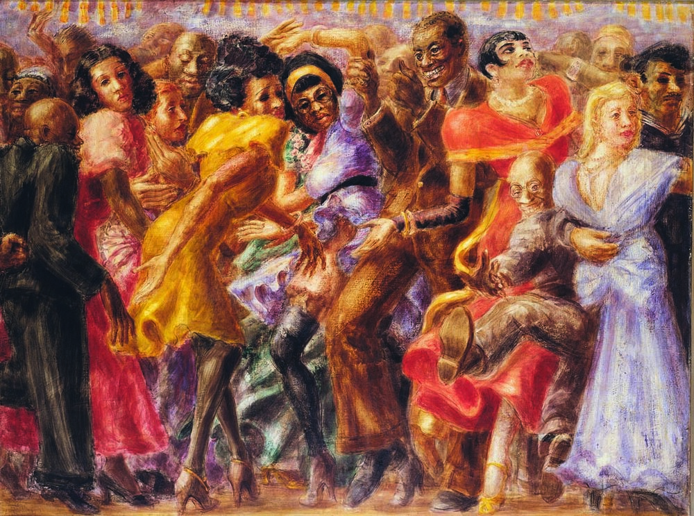 REGINALD MARSH  (1898-1954)  Harlem, Tuesday Night at the Savoy  1932 Tempera on board 36 x 48 inches Private Collection