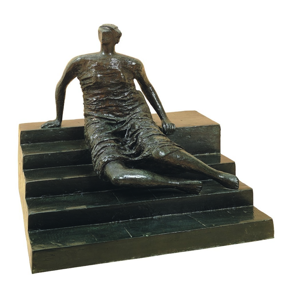 HENRY MOORE  (1898-1986)  Draped Seated Woman:  Figure on Steps  1956 Bronze 25 1/2 x 28 1/2 x 26 1/4 inches Edition of 9 Private Collection