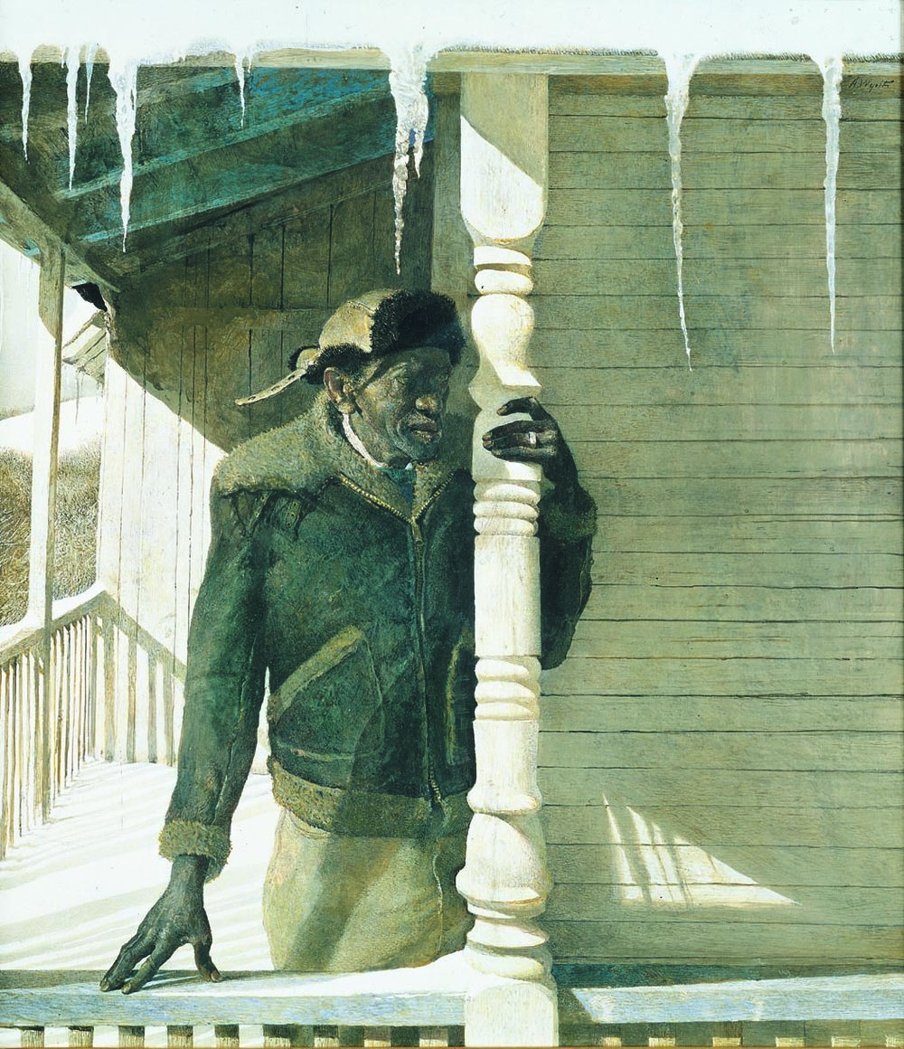 ANDREW WYETH  (b. 1917)  Painted Post  1983 Tempera on board 22 x 20inches Private Collection