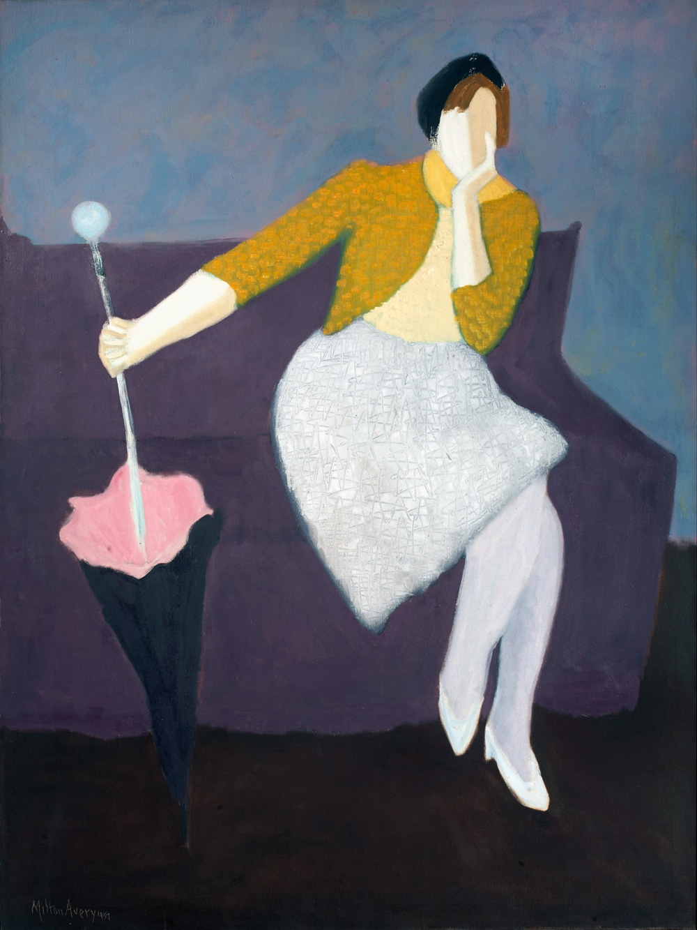 MILTON AVERY  (1885-1965)   Parasol , 1957 Oil on canvas 53 x 40 inches 134.6 x 101.6 cm Private Collection