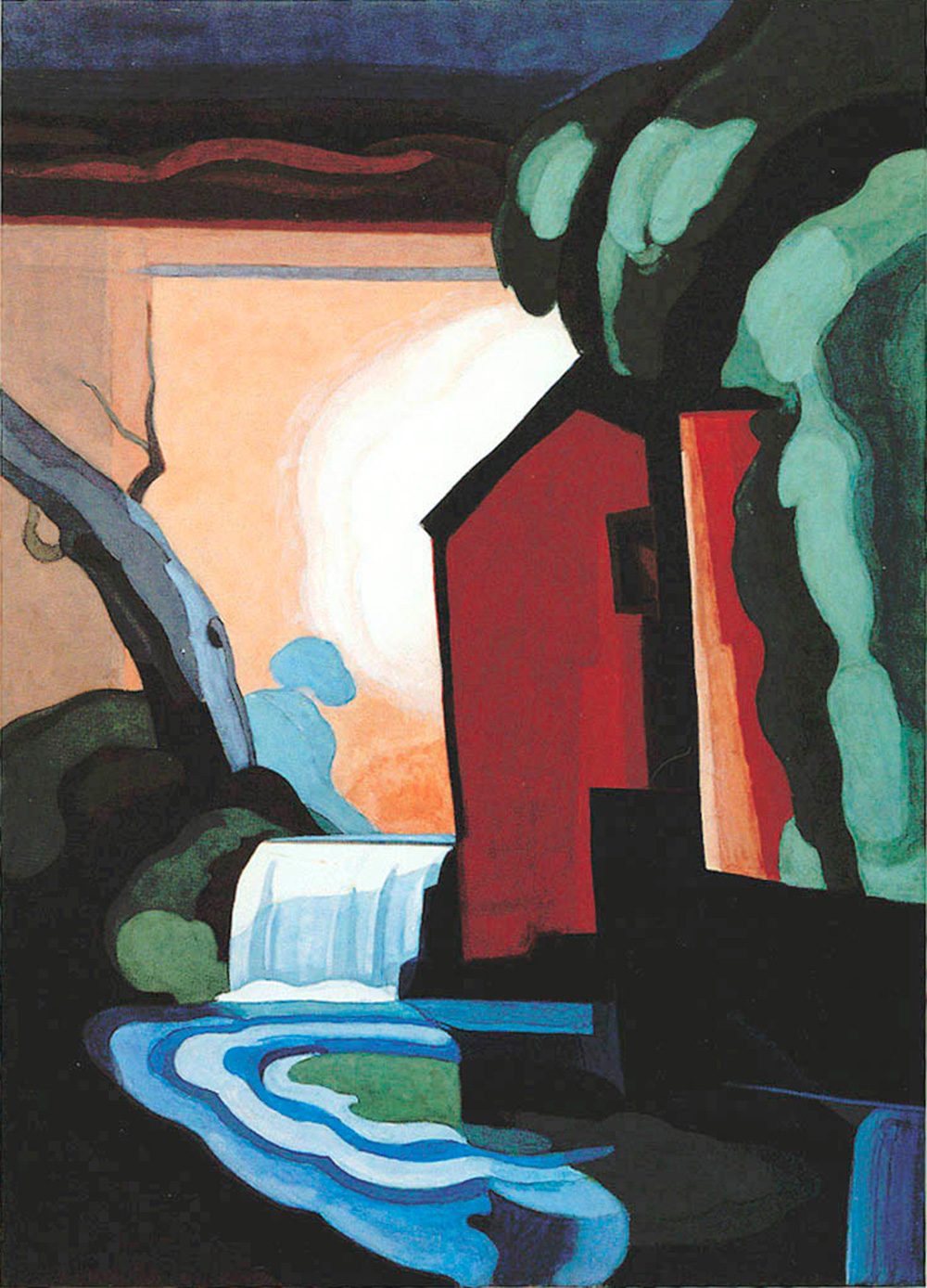 OSCAR BLUEMNER  (1867-1938)   Moonlight Fantasy,  1930 Casein varnish on paper mounted on board 30 3/4 x 22 1/2 inches Private Collection