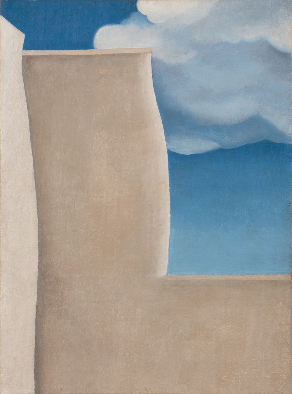 GEORGIA O'KEEFFE  (1887-1986)   A Fragment of the Ranchos de Taos Church , 1929 Oil on canvas mounted on board 15 x 11 inches Private Collection