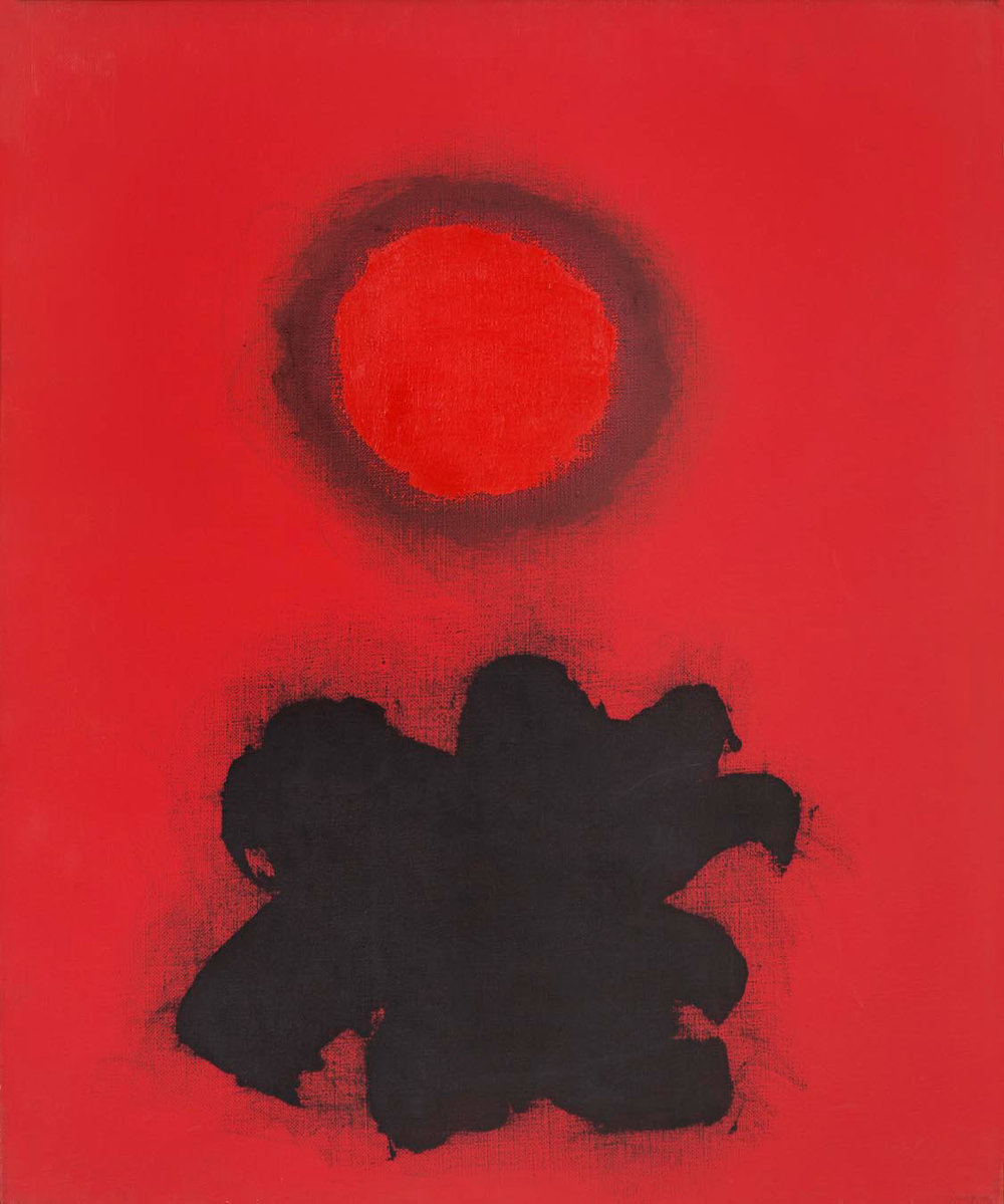 ADOLPH GOTTLIEB  (1903 - 1974)   Red Burst , 1974 Oil on linen 24 x 20 inches Private Collection