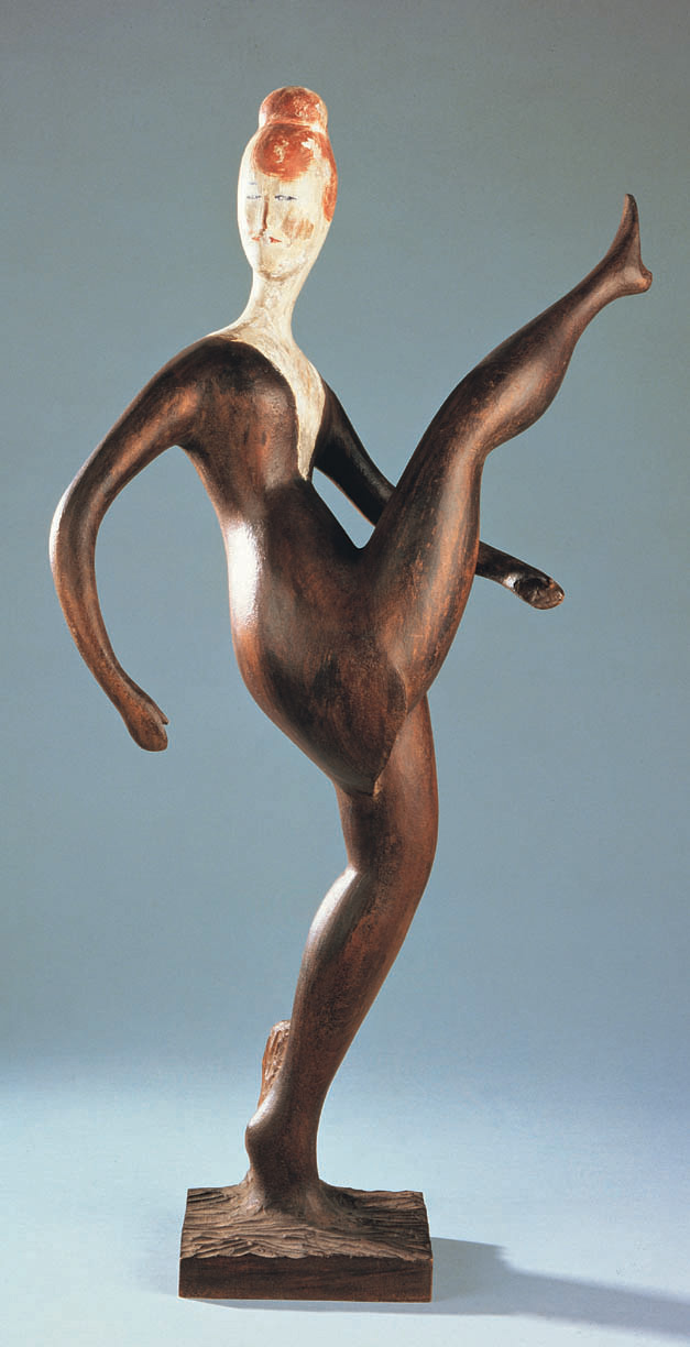 ELIE NADELMAN  (1882-1946)  Dancer (High Kicker) , c. 1920-22 Painted and gessoed cherry wood 29 ½ inches high Private collection, Washington, D.C.