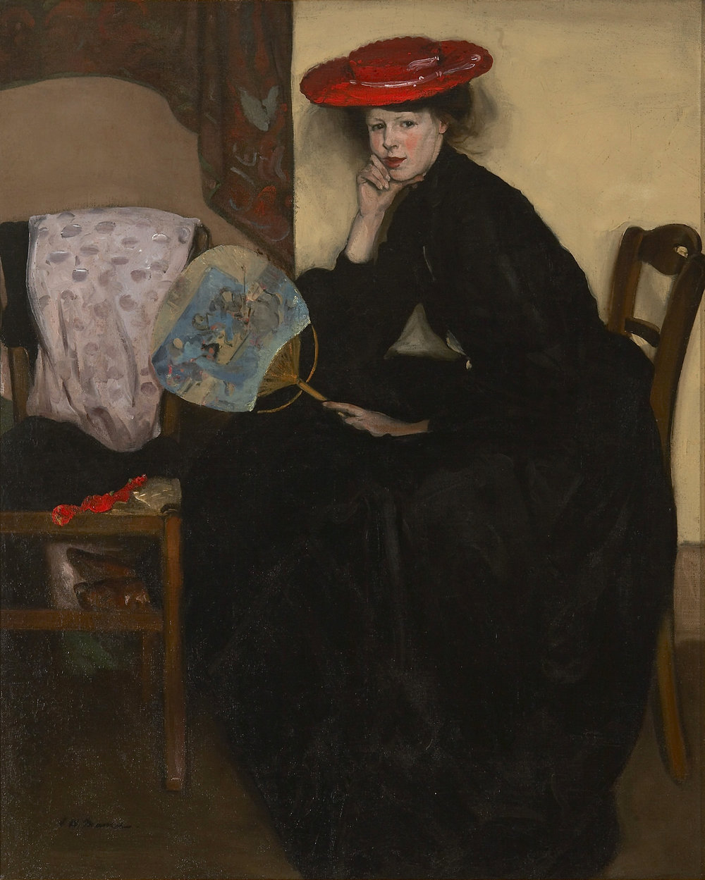 ALFRED MAURER  (1868-1932)  Model with a Japanese Fan , c. 1900 Oil on canvas 32 1/8 x 25 7/8 inches signed lower left: A.H. Maurer