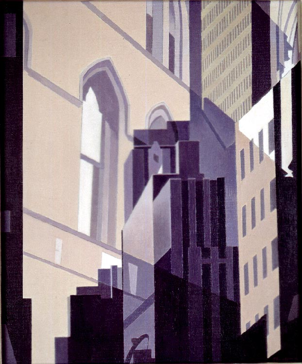 CHARLES SHEELER  (1883-1965)  Neighbors , 1951 Oil on canvas 18 x 15 inches Signed and dated, lower right: Sheeler 51