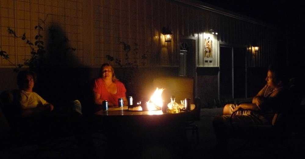 Marshall, Barby and Kirk hang by the RB fire pit