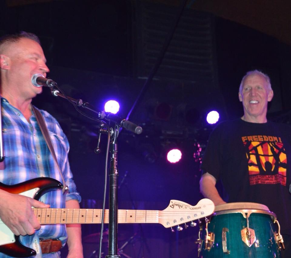 On stage at Belly Up with, quite possibly, the World's Tallest Conga Player, Mr. Bill Walton