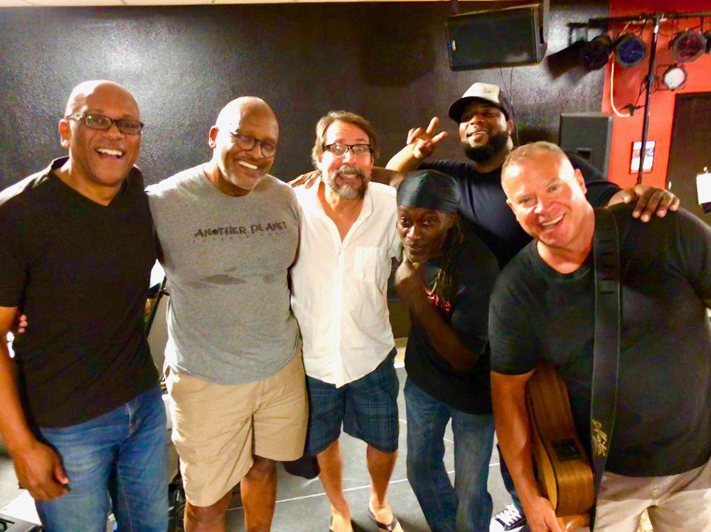 "Pre-KAABOO, with James East, Steve Ferrone, Ignacio ""Nacho"" Sobers, Tim ""Figg"" Newton and Sully Sullivan"