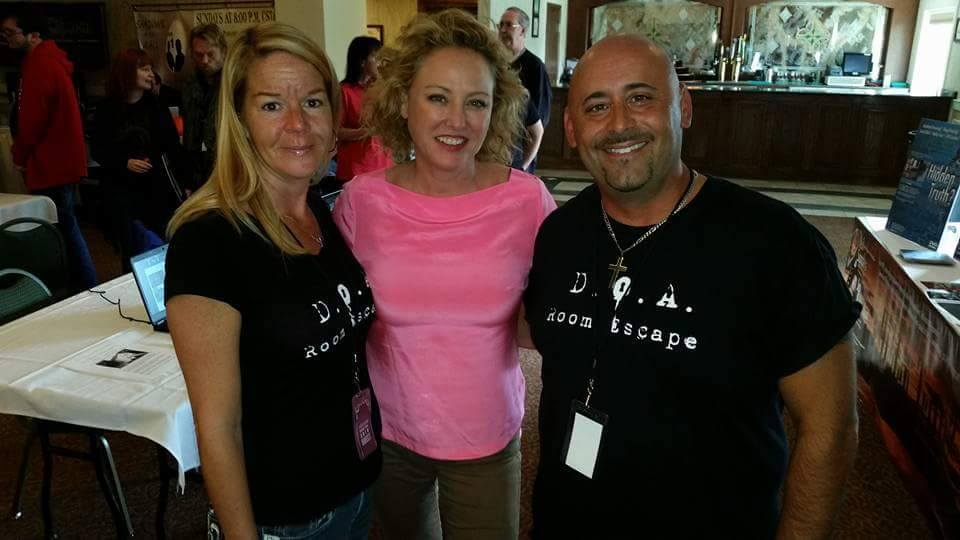 D.O.A. Room Escape owners Kristin Mellon and John Bennett with actress/producer, Virginia Madsen at the Chicago Ghost Conference