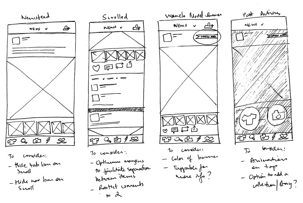 Basic sketches of the newsfeed