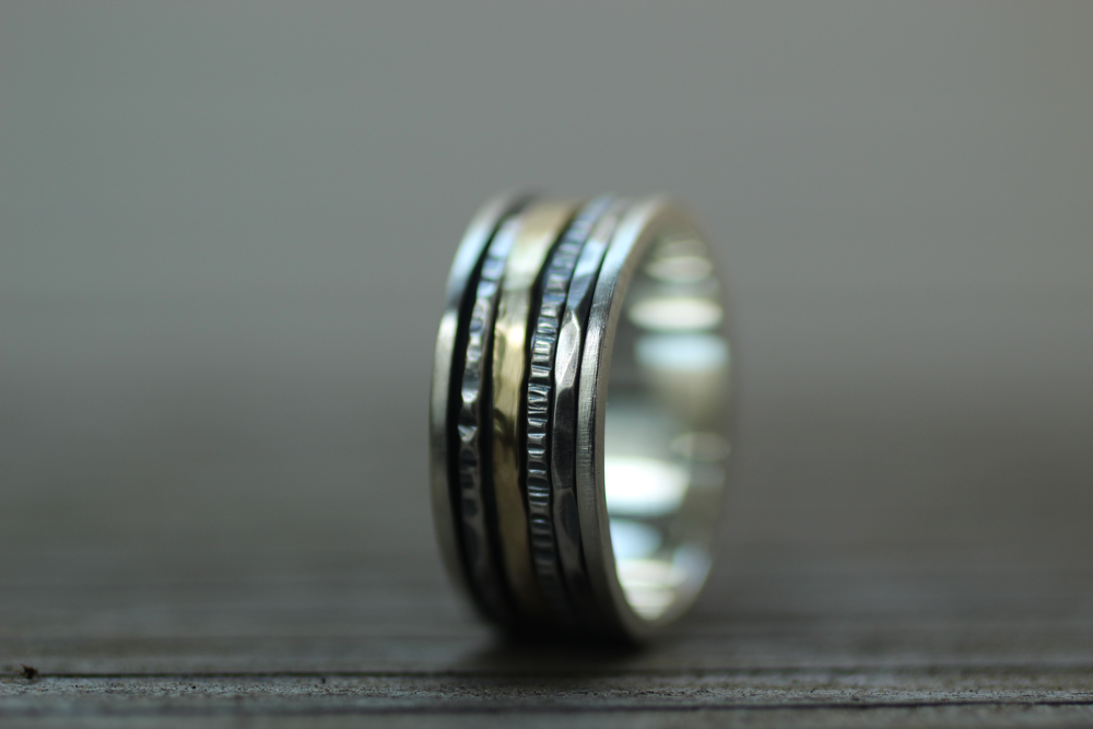 8mm Spinner Ring with Gold Spinner