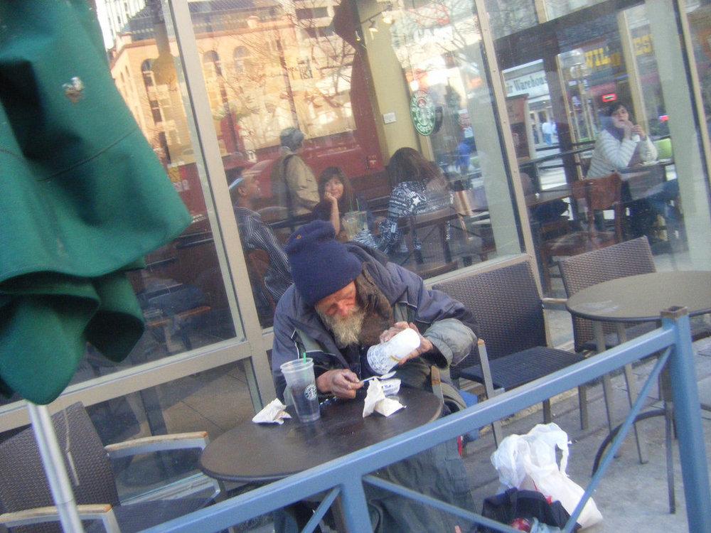 A homeless man in downtown denver