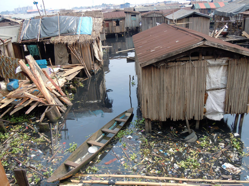 A slum in lagos, which has a population of 21 million