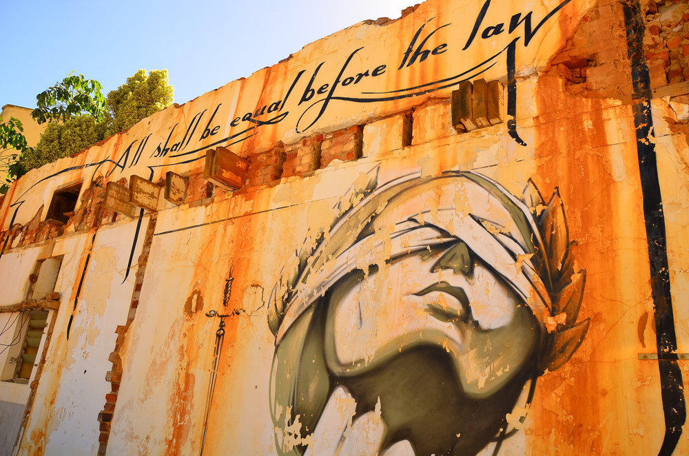 All shall be equal before the law: justice graffiti in Cape Town, South Africa. Credit: Ben Sutherland