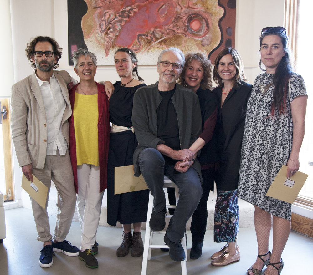 Herb Alpert and his wife lani Hall with this year's winners of the Herb Alpert Award in the Arts.