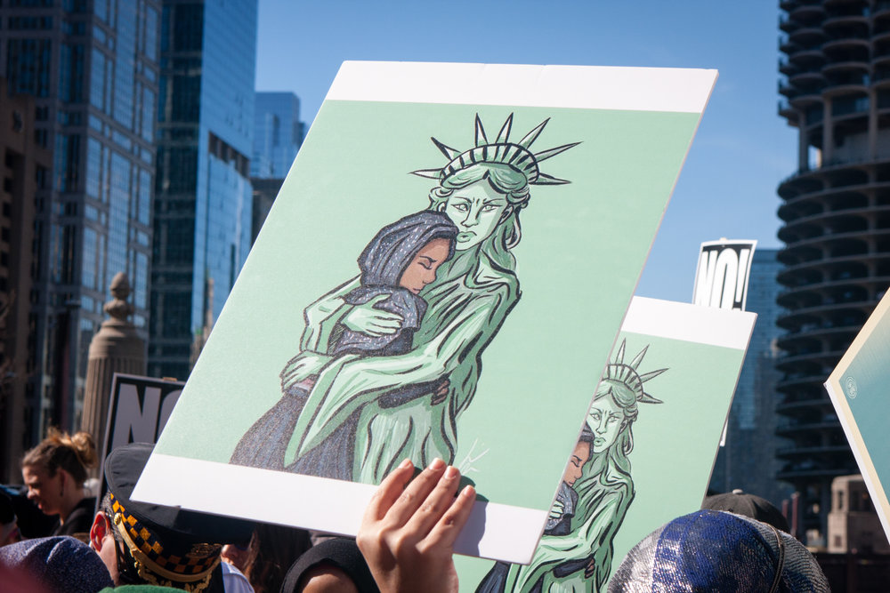 a protest in chicago. photo:   Marie Kanger Born /shutterstoc