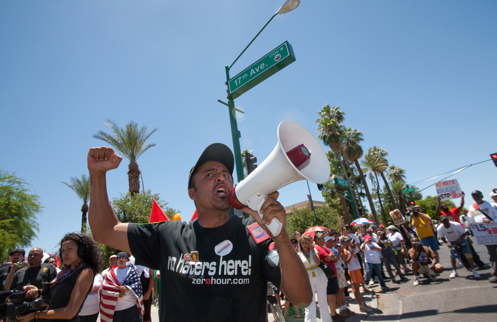 A protest in Phoenix. photo:  CREATISTA/shutterstock