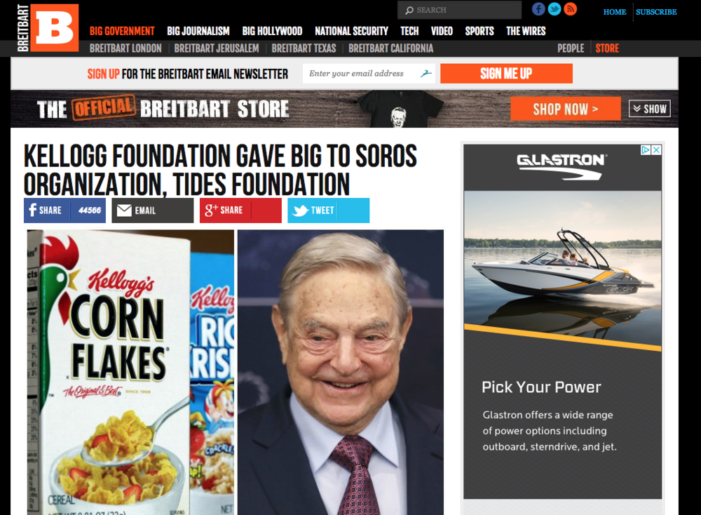 The Kellogg Foundation has become a regular target of Breitbart, along with George Soros